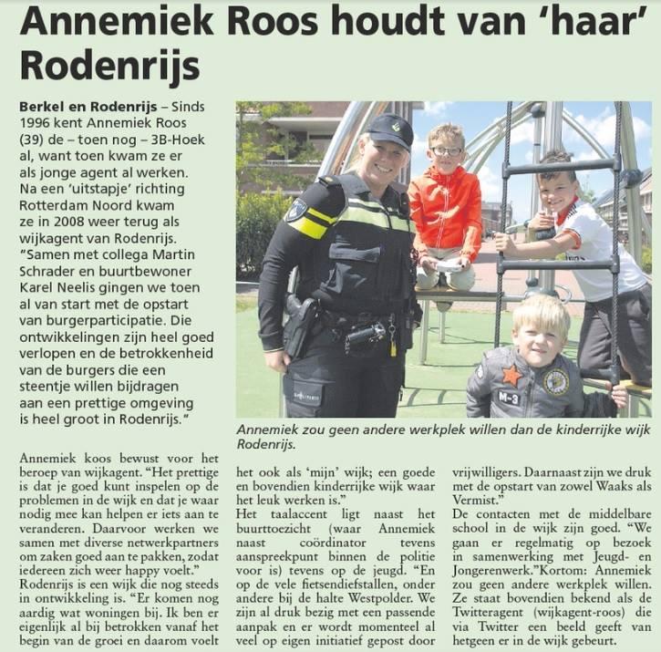 Wijkagent Annemiek Roos