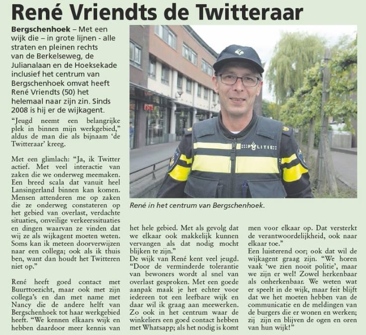 Wijkagent Rene Vriendts