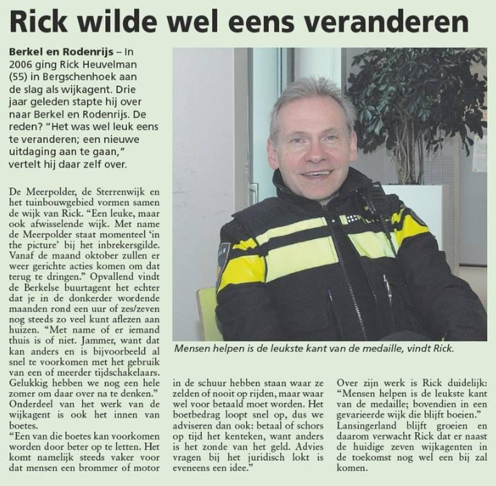 Wijkagent Rick Heuvelman